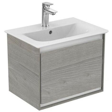 Ideal Standard - Meuble sous plan 50 cm 1 tiroir Chêne grisé / Blanc mat - CONNECT AIR
