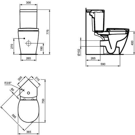 Ideal Standard - Pack WC d'angle avec abattant prêt à poser en porcelaine - CONNECT SPACE