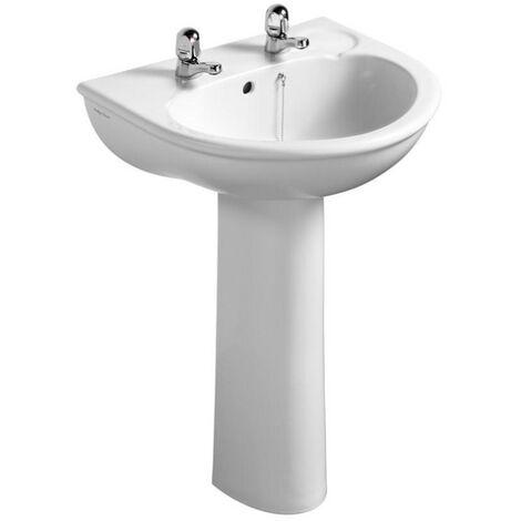 Ideal Standard Sandringham Washbasin with Full Pedestal 560mm Wide 2 Tap Hole
