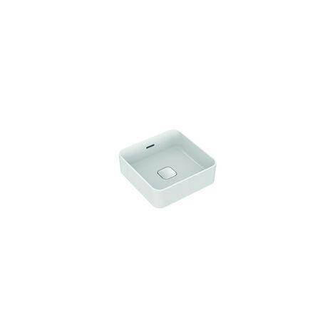 Ideal Standard Strada II Lavabo à poser carré T2963, sans trou pour robinet, trop-plein, avec kit de fixation, 400x400 mm, Coloris: Blanc - T296301