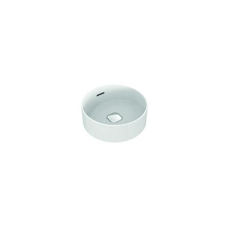 Ideal Standard Strada II Lavabo de sobre encimera redondo T2929, sin agujero para grifo, rebosadero, incl. juego de fijación, diámetro 380 mm, color: Blanco - T292901