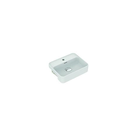 Ideal Standard Strada II lave-mains semi-encastré T2993, 1 trou pour robinet, trop-plein, avec kit de fixation, 550 mm, Coloris: Blanc avec Idéal Plus - T2993MA