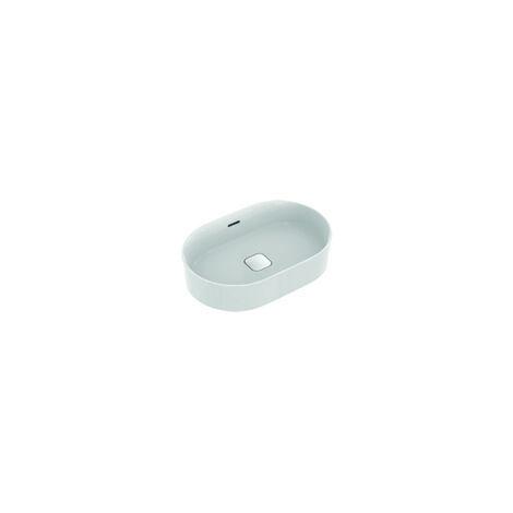 Ideal Standard Strada II Plan vasque à poser ovale T3604, sans trou pour robinet, trop-plein, avec kit de fixation, 600x400 mm, Coloris: Blanc avec Idéal Plus - T3604MA