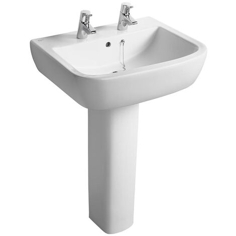 Ideal Standard Tempo Basin and Full Pedestal 600mm Wide 2 Tap Holes