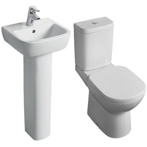 Ideal Standard Tempo Bathroom Cloakroom Suite Horizontal Pan 1 Tap Hole Basin - White