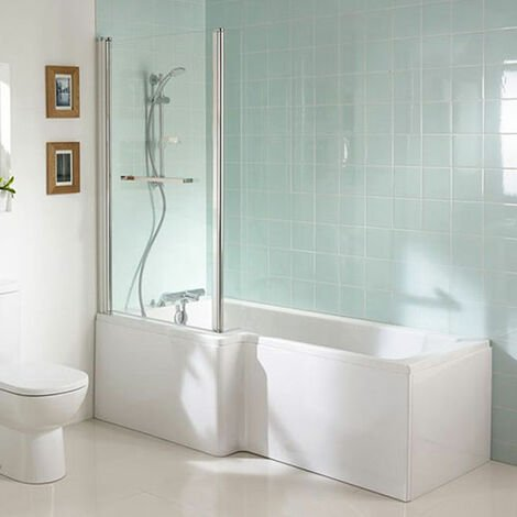 Ideal Standard Tempo Cube L-Shaped Shower Bath 1700mm x 700mm/850mm Left Handed 0 Tap Hole