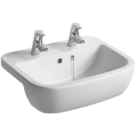 Ideal Standard Tempo Semi Countertop Washbasin 550mm Wide 2 Tap Holes