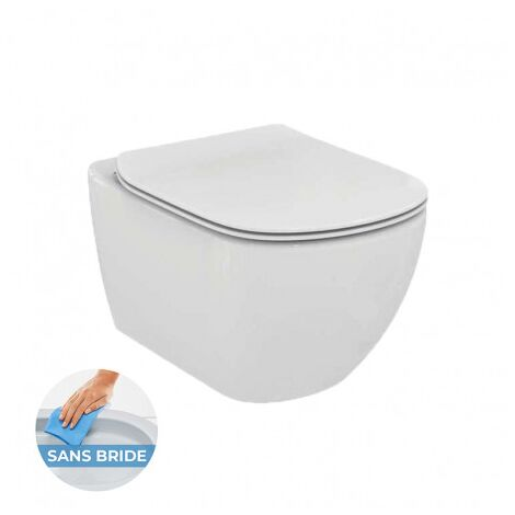 "main image of ""Ideal Standard TESI - AquaBlade rimless toilet bowl + ultra-thin softclose seat (T354601)"""
