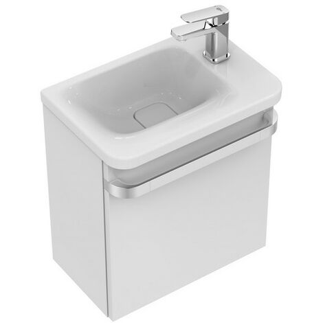 Ideal Standard TONIC II Módulo de lavabo, 450mm, 1 puerta, bisagra derecha R4306, color: Lacado gris claro de alto brillo - R4306FA