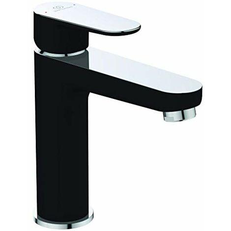 Ideal Standard Tyria BC159HS - Miscelatore per lavabo per bagno, cromato e nero, con piletta in metallo