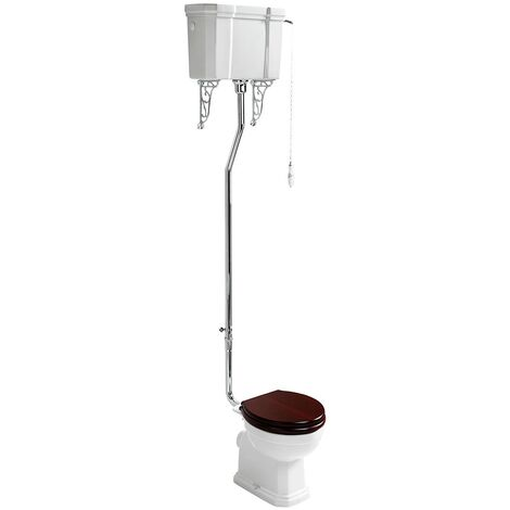 Ideal Standard Waverley High Level Toilet with Cistern - Standard Mahogany Seat