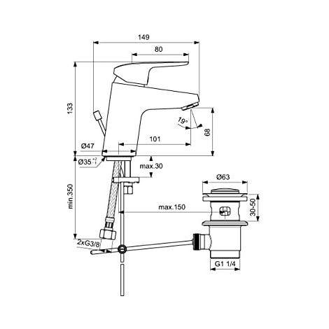 Ideal Standard–Rubinetto/miscelatore per lavabo ceraflex | Metallo Asta di comando scarico G1¼, fissaggio da sotto, erogatore fisso, superficie: Cromo, B1708AA