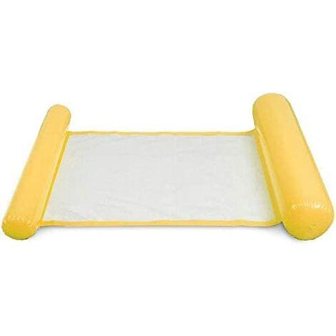 Ideal Swan Hamac Flottant Gonflable Hamac Piscine 4-en-1 [Hamac + Chaise Longue + Drifter + Selle d'exercice] pour Piscine Plage Mer - Bleu(jaune)