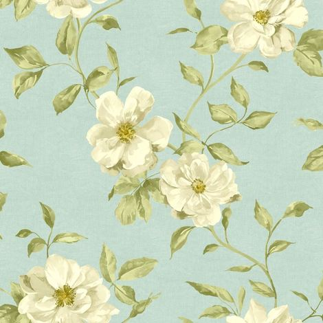 Ideco Home Chloe Floral Feature Wallpaper Teal A13703