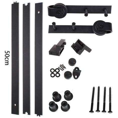 iDEGU 150CM Quincaillerie Kit de Rail Suspendu Porte Coulissante, Ensemble Industriel Hardware kit pour Porte Suspendue en Bois Système de Porte avec Roulettes et Rail