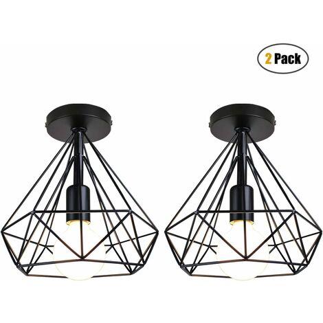 iDEGU 2 pack Plafonniers Rétro Industriel Ø20cm Luminaire Abat-jour en Metal Design Cage Diamant Lustre Lampes de Plafond pour Chambre Salon Couloir Cuisine, Noir