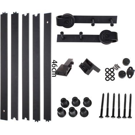 iDEGU 230CM Quincaillerie Kit de Rail Suspendu Porte Coulissante, Ensemble Industriel Hardware kit pour Porte Suspendue en Bois Système de Porte avec Roulettes et Rail