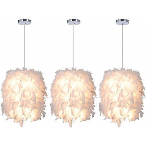 iDEGU 3x Suspension Luminaire en Plumes Blanche 22cm Lustre Suspension Abat-jour E27 Lampe de Plafon pour Chambre, Salon, Salle à Manger, Restaurant, Décoration