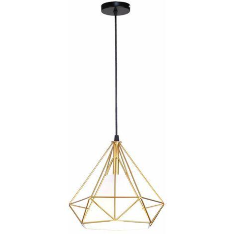 """main image of """"iDEGU Lustre Suspension Vintage Luminaire Abat-Jour E27 Lampe de Plafond Rétro Cage en Forme Diamant en Métal pour Chambre Salon Cuisine, 25cm, Or"""""""