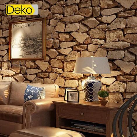 IDEKO Papier Peint trompe l'oeil aspect briques antiques 10 mètres* 0.53 mètre