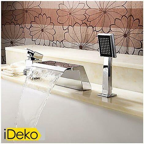 iDeko® Robinet Mitigeur Antique contemporaine robinet de baignoire cascade avec douche à main (finition chromée)