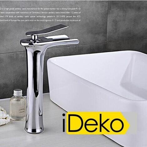 iDeko® Robinet Mitigeur lavabo cascade haut bec salle de bain design moderne Laiton Céramique chrome IDK3127 avec flexibles
