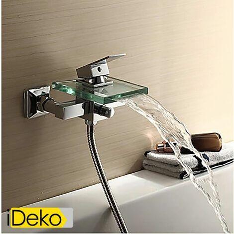 iDeko® Robinet Mitigeur robinet de baignoire cascade avec bec verseur en verre (support mural)