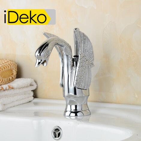 iDeko®Robinet Mitigeur lavabo,baignoire ,vasque chrome Cygne élégant & Flexible