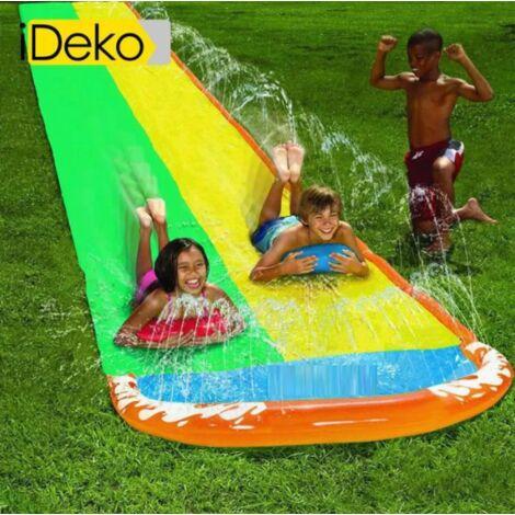 """main image of """"iDeko®Tapis de Glisse double Toboggan Eau Piscine - jeu eau plein air - Avec aire de lancement"""""""