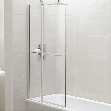 Identiti2 6mm Square Bath Shower Screen Fixed Panel, Towel Rail Shelf