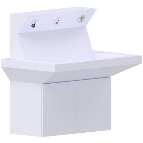 Idral Lavabo de pared multifuncional en solid surface 4ALL 10570 | Blanco brillo