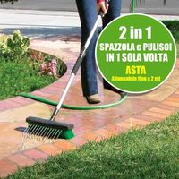 Idrospazzola Ad Acqua Manico Allungabile Lavaggio Pavimenti Auto Scopa Spazzola
