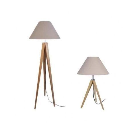 IDUN Lampadaire + lampe a poser trépied bois massif naturel style scandinave Abat jour conique en coton taupe
