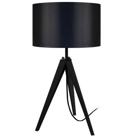 IDUN Lampe a poser en bois noir - Ø30 x H.56 cm - Abat-jour cylindrique noir - E27 60W