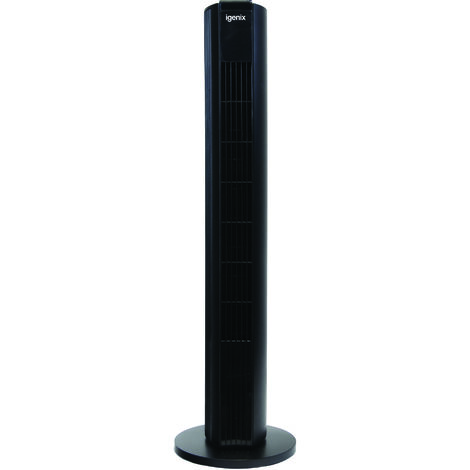 Igenix DF0039BL Oscillating Digital Tower Fan, Ultra Quiet DC Motor, 8 Speed Settings with 3 Breeze Modes including Sleep Mode, Remote Control, 33 Inch, Black