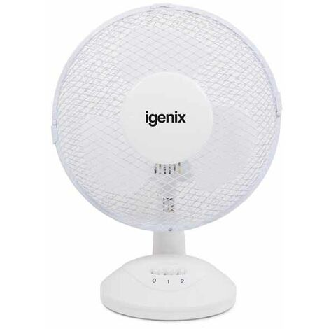 Igenix DF9010 Portable Desk Fan, 9 Inch, 2 Speed, Quiet Operation, Oscillating, Desktop/Bedside Fan, Ideal for Home and Office, White