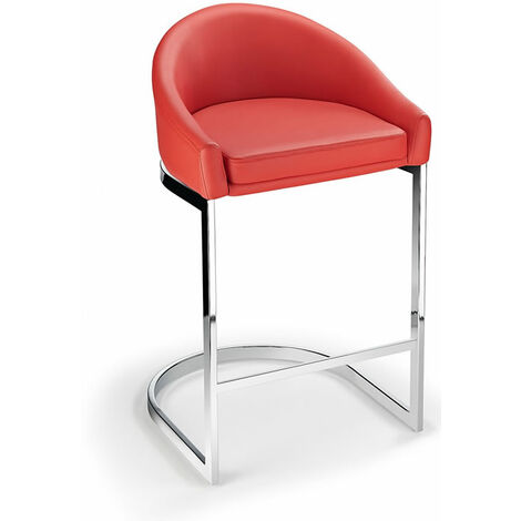Ikany Fixed Height Breakfast Chrome Bar Stool With Red Padded Seat Red Padded Chrome Red 64 cm Chrome