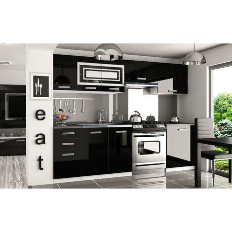 IKAR   Cuisine Complète Modulaire Linéaire L 240/180 cm 7 pcs   Plan de travail INCLUS   Ensemble de meubles de cuisine   Noir