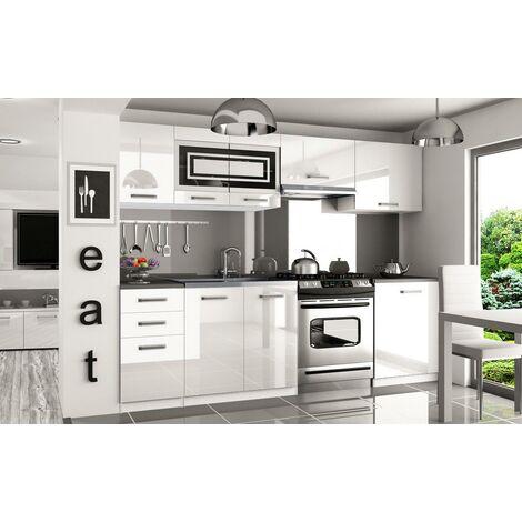 IKAR   Cuisine Complète Modulaire Linéaire L 240/180cm 7 pcs   Plan de travail INCLUS   Ensemble meubles de cuisine   Blanc