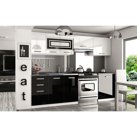 IKAR   Cuisine Complète Modulaire Linéaire L 240/180cm 7 pcs   Plan de travail INCLUS   Ensemble meubles de cuisine moderne   Blanc-Noir