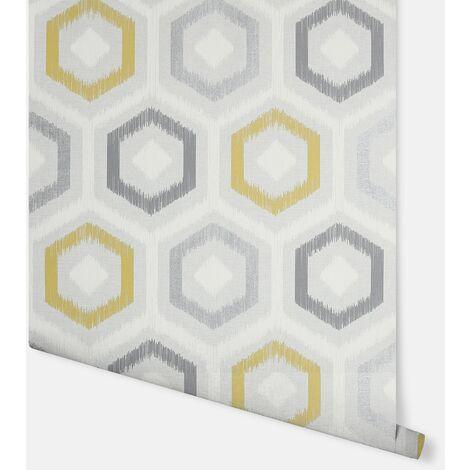 Ikat Geo Ochre & Grey Wallpaper - Arthouse - 296800