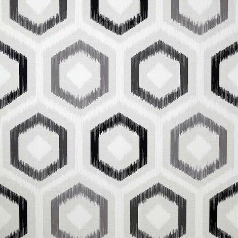 Ikat Geometric Wallpaper Arthouse Retro Grey Charcoal White Textured Vinyl