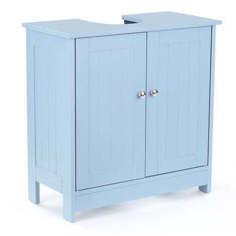 iKayaa moderna bajo el fregadero Gabinete de almacenamiento con puertas tocador de bano Muebles de 2 capas Organizador, Azul