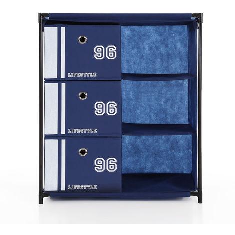 iKayaa Organisateur d'armoires de rangement en tissu 3 grilles pour vetements jouets