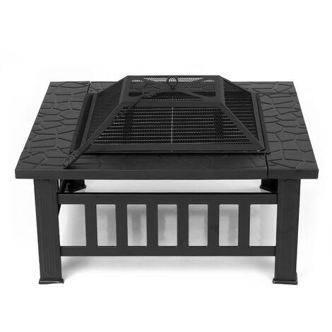 IKayaa table de brasero multifonctionnelle plage jardin brasier feu tout fer materiel exterieur brasero d'hiver avec filet de barbecue
