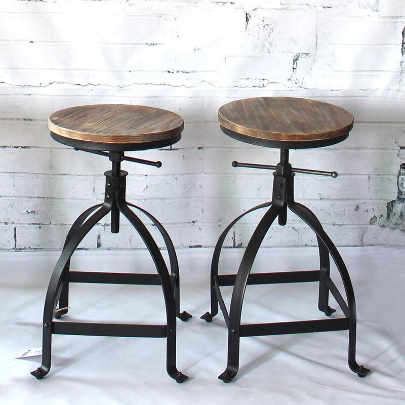iKayaa tabouret de bar de style industriel ajustable avec assise en pin naturel