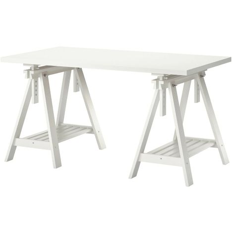 Ikea Scrivania Vetro.Ikea Scrivania Linnmon Finnvard Scrittoio Salvaspazio Estensibile Bianco
