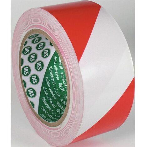 IKS Bodenmarkierungsband F33P PVC rot/weiß L.33m B.50mm Rl.