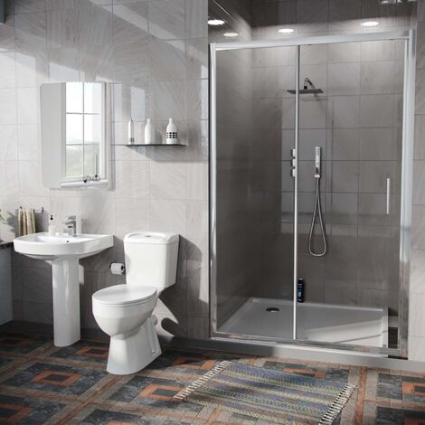 Illinois 3-Piece Shower Enclosure Suite - Eco-Toilet + Pedestal Basin + 1100mm Slider Door