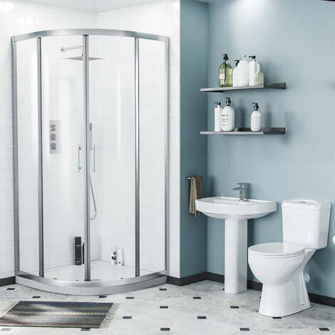 Illinois 3-Piece Shower Enclosure Suite - Eco-Toilet + Pedestal Basin + 900mm Quadrant